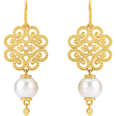 Exquisite 14k Yellow Gold Granulated Design Wire Back Earrings With 22cts 11mm South Sea Cultured Pearls