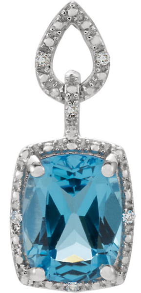 Exquisite 2.5ct 9x7mm Swiss Blue Topaz & Diamond 14k White Gold Fashion Pendant for SALE - 2.5ct Cushion Cut Gem - FREE Chain