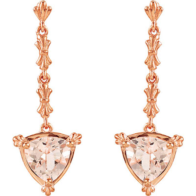 Exquisite 2ct 14k Rose Gold Post Back Dangle Earrings With 7mm Trillion Shape Morganite Gemstones - Decorative Rose Gold Chain - SOLD