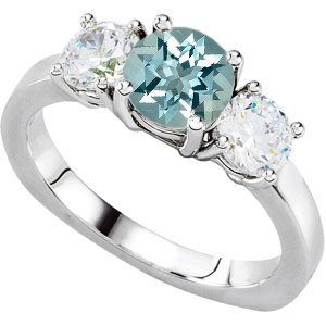 3-Stone Engagement Ring With Large Low Price on 1.4ct 8mm GEM Aquamarine Center & 1 carat Diamond Accents