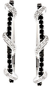 Exquisite .48ct 1.6mm Black Spinel & 1/4 ct tw Diamond Hoop Earrings skillfully set in Sterling Silver for SALE - SOLD