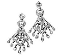 Exquisite and Ornate Diamond Studded 14k White Gold Chandelier Earrings for SALE - .75 cts