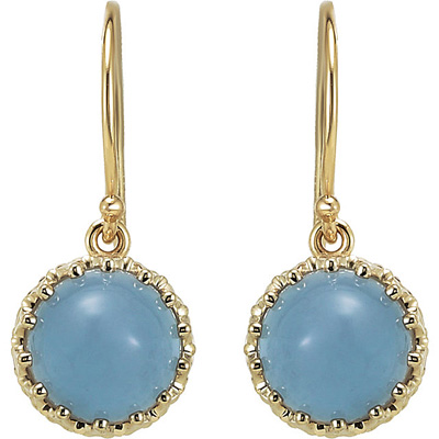 Exquisite Blue  8.86ct 8mm Chalcedony Crown Design Cabochon Dangle Earrings - 14k Yellow Gold