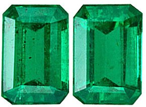 Exquisite Brazilian Rich Green Genuine Emerald Gemstone Pair for SALE - Clean & Bright, Great Match, Emerald Cut, 6 x 4 mm, 1.17 carats