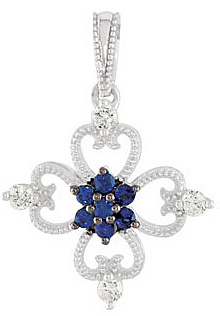 Exquisite Clover Shaped .24ct 1.5mm Blue Sapphire and Diamond Sterling Silver Pendant for SALE - FREE Chain With Pendant