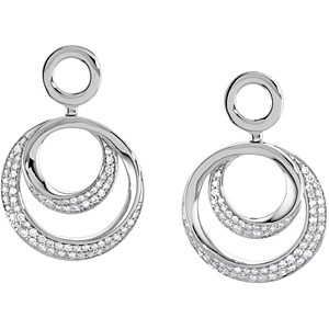 Exquisite Concentric Circle Style 14k White Gold Earrings with .625 ct Pave Diamond Details