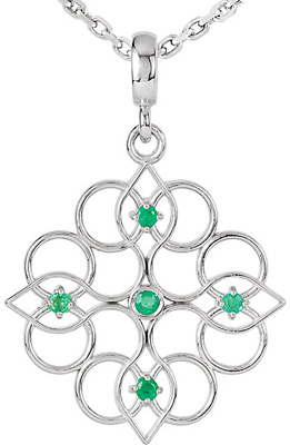 Exquisite Decorative Sterling Silver Pendant With 5 Emeralds Sized 1.5-1.75mm, .11cts for SALE