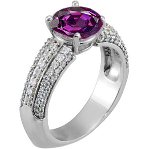 Euro Shank Genuine Alexandrite Engagement Ring set With Low Price on 1 ct Genuine Low Price on Alexandrite Stone