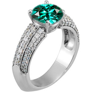 Exquisite Euro Shank Genuine Blue Green Tourmaline Engagement Ring With Dazzling Faux Pave Diamond Accents - SOLD