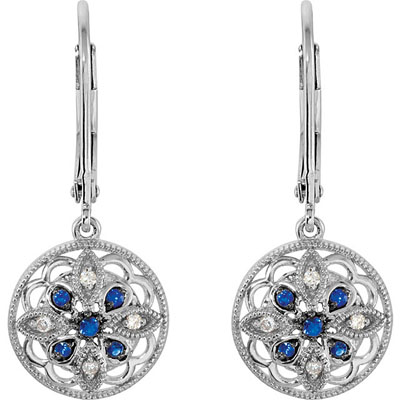 Exquisite Lever Back Dangle Sterling Silver Earrings With .118ct 1.2-1.7mm Blue Sapphire and Diamonds
