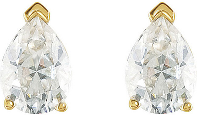 Exquisite Pear Created Moissanite Stud Earrings For SALE - Choose Metal Type and Gem Size