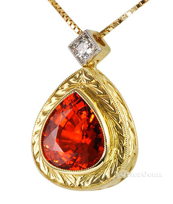 Exquisite Pear Shape Bright Orange Spessartite Garnet & Diamond Necklace  - SOLD