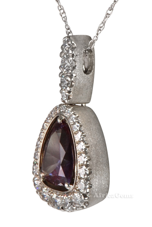 Exquisite Rare Russian Genuine Alexandrite And Diamond Hand Made Necklace by Christoph - 18 kt White Gold - SOLD
