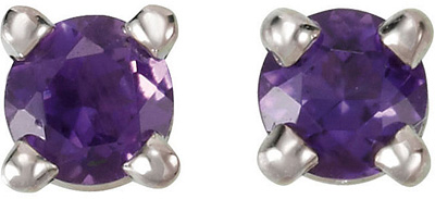 Exquisite 3.00 mm, .2ct Round AAA Grade Amethyst Gemstone Stud Febraury Birthstone Earrings for SALE - 14k White or Yellow Gold