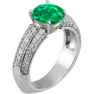 Vivid Green GEM Grade 1.30 carat 7mm Emerald Euro Shank Engagement Ring With Dazzling Faux Pave Diamond Accents