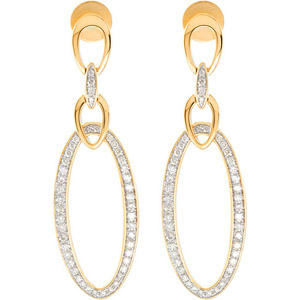 Extraordinary 1/2 ct Yellow Gold Post Back Earrings with Elliptical Channel Set Diamond