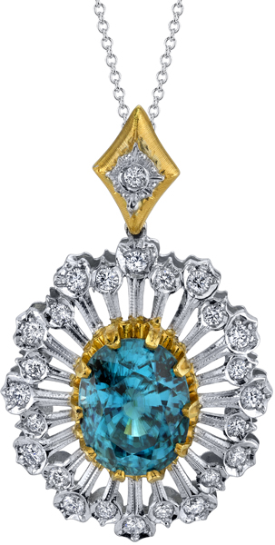 Extraordinary 13.12ct Oval Blue Zircon Sunburst Pendant in 2-Tone 18kt Gold - 25 Diamond Accents