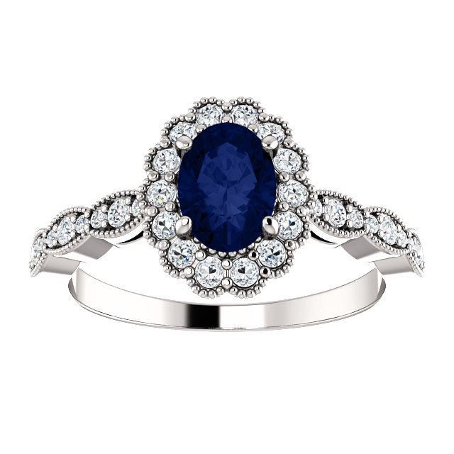 Extraordinary 14 Karat White Gold Chatham Created Oval Genuine Blue Sapphire & 3/8 Carat Total Weight Diamond Ring