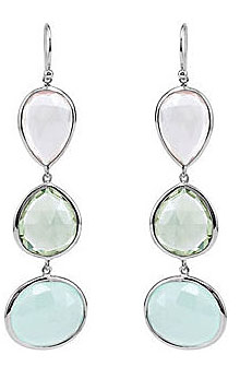 Extraordinary 56ct Triple Gemstone Dangle Earrings Featuring Rose Quartz, Aqua Chalcedony and Green Amethyst - Stunning Unique Look