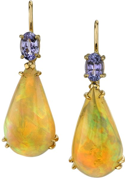 Extraordinary Elongated 19x11mm Pear Dangle Opal Earrings With Oval Tanzanites - 18kt Yellow Gold