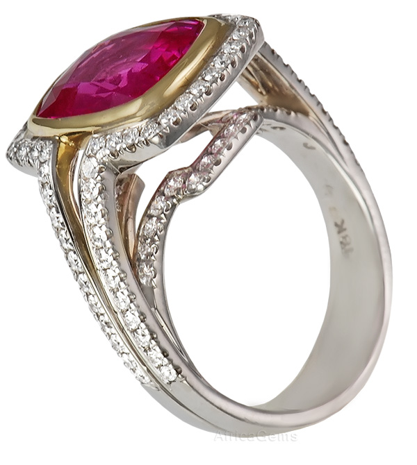 Extraordinary Jumbo Super Gem 6 ct Pink Sapphire And Diamond Custom Ring for SALE - SOLD