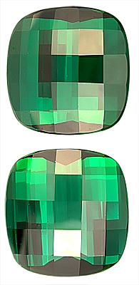 Extraordinary Pair of Massive Rich Green Tourmaline Gemstone for SALE, Antique Cushion CheckerBoard Cut, 15.7 x 4.9 mm, 35.44 carats