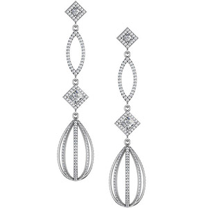 Extraordinary White or Yellow Gold Dangling Diamond Chandelier Earrings with 3.5 carats of 520 Diamonds!