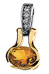 Eye-catching 1.15ct 8x6mm Citrine & Diamond Pendant set in 14 karat  2 Tone Gold - Free Chain