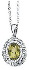 Eye-catching 1.86ct 7x5mm Oval Cut Peridot & Diamond Necklace set in 14 karat White Gold - Free Chain