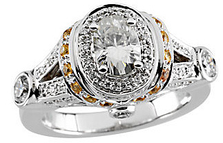 Eye-Catching 14k White Gold 1.7ct 7x5mm Moissanite Engagement Ring With Diamond and Yellow Sapphire Accents