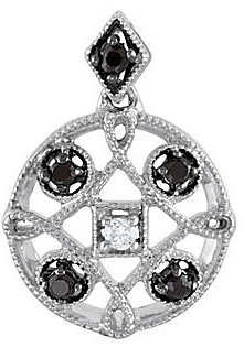 Eye Catching .15ct 1.5mm Spinel Medallion Pendant With Diamond Accent in Sterling Silver for SALE - FREE Chain With Pendant - SOLD
