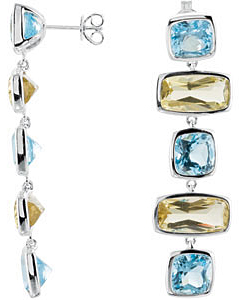 Eye-catching 22.72tc 14x7mmCushion Shaped Sky Blue Topaz & Lime Quartz Earrings skillfully set in Sterling Silver for SALE