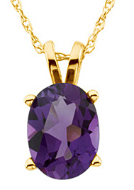 Eye-catching 2ct 8x6mm Amethyst Necklace on 18