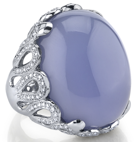 Eye-Catching 51.41ct Oval Blue Chalcedony Handmade Statement Ring - 0.73ctw Diamond Accents