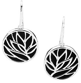 Eye-catching 6.23ct 20mm Onyx Earrings set in Sterling Silver - Leafy Design on a Circular Onyx Background