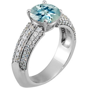 Eye-Catching Euro Shank Genuine Super Fine 1 carat 6mm Aquamarine Engagement Ring With Dazzling Faux Pave Diamond Accents