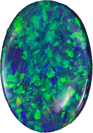 Blue - Green Flames in Black Opal Stone, Ligtning Ridge Gem in Oval Neon Blues & Greens, 0.80 carats , 8.2 x 5.5 mm