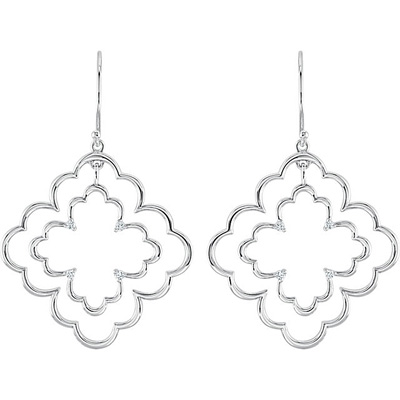 Eye-Catching Scalloped Open Design Wire Back Sterling Silver Dangle Earrings With .125 cts Diamond Accents for SALE - 1.50 mm stones