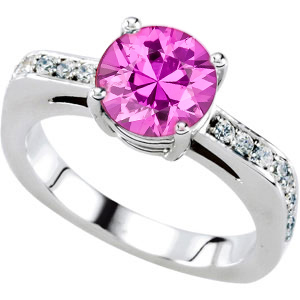 Eye-Catching Solitaire Engagement Ring With Genuine 7mm Pure Pink Sapphire Round Centergem - 18 Diamond Accents in Band