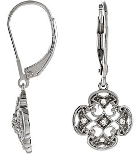 Fabulous .07 carat total weight 1.20 mm Diamond Leverback Earrings expertly set in Sterling Silver for SALE