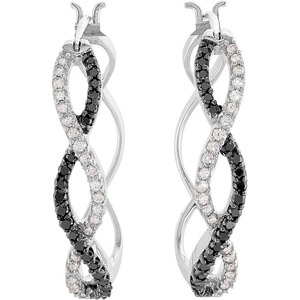 Fabulous 1/2 ct Hoop Earrings With Interweaving Black and White Studded Diamonds in 14k White Gold