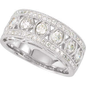 Fabulous 1/2ct Diamond Band With Larger Diamonds and Diamond Framed Band in 14k White Gold