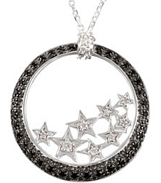 Fabulous 1.2mm .35ct Black Spinel & .06 ct tw Diamond Pendant expertly set in Sterling Silver for SALE - Gorgeous Star Designs - SOLD