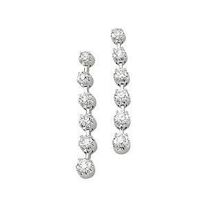 Fabulous 1 ct Diamond Dangle Earrings in White Gold with a Strand of 6 Diamonds