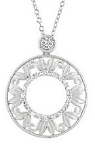 Fabulous .17ct Diamond Accented Open Circle Sterling Silver Pendant Leafy Detailing for SALE - FREE Chain Included With Pendant