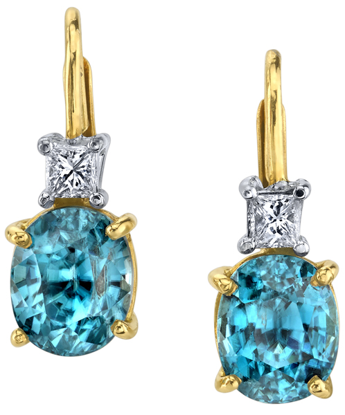 Fabulous 18kt Yellow Gold Handmade Leverback Dangle Earrings - 8.25xmm Oval Blue Zircon & mm Princess Cut Diamond