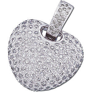 Fabulous 2 ct Pave Diamond 14k White Gold Heart Pendant for SALE - FREE Chain - 1-1.7mm stones
