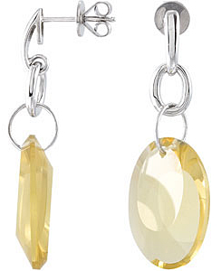 Fabulous 24.48ct 20x15mm Oval Shaped Lime Quartz Post Earrings expertly set in Sterling Silver for SALE - SOLD