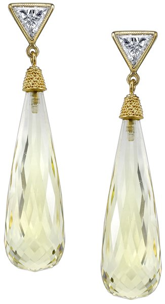 Fabulous 35.65ctw Citrine Briolette Dangle Earrings With Trillion Diamond Accents - 18kt Yellow Gold