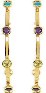 Fabulous 50mm Large Hoop Earrings Featuring an Array of Colored Gems